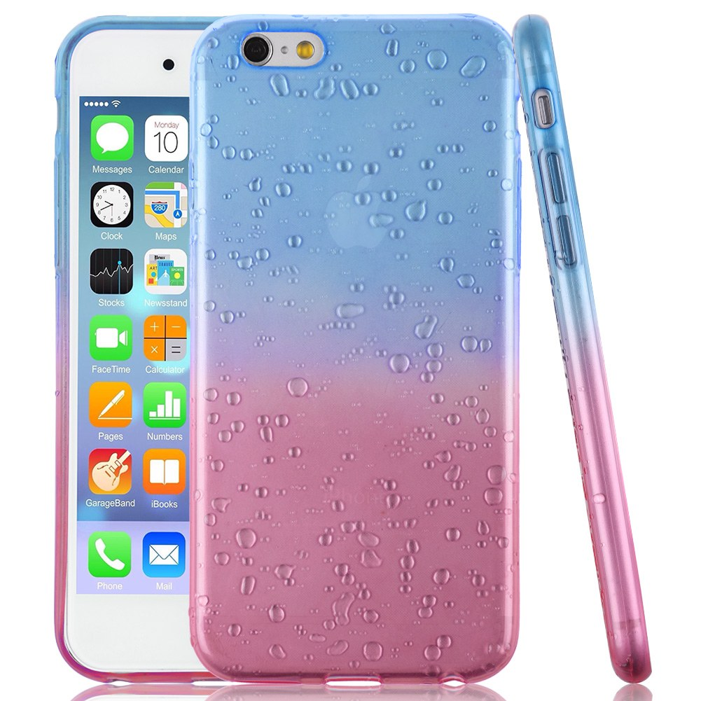 Ombre Gradually 3D Water Rain Drop Silicone Gel Clear Soft Case Cover For iPhone