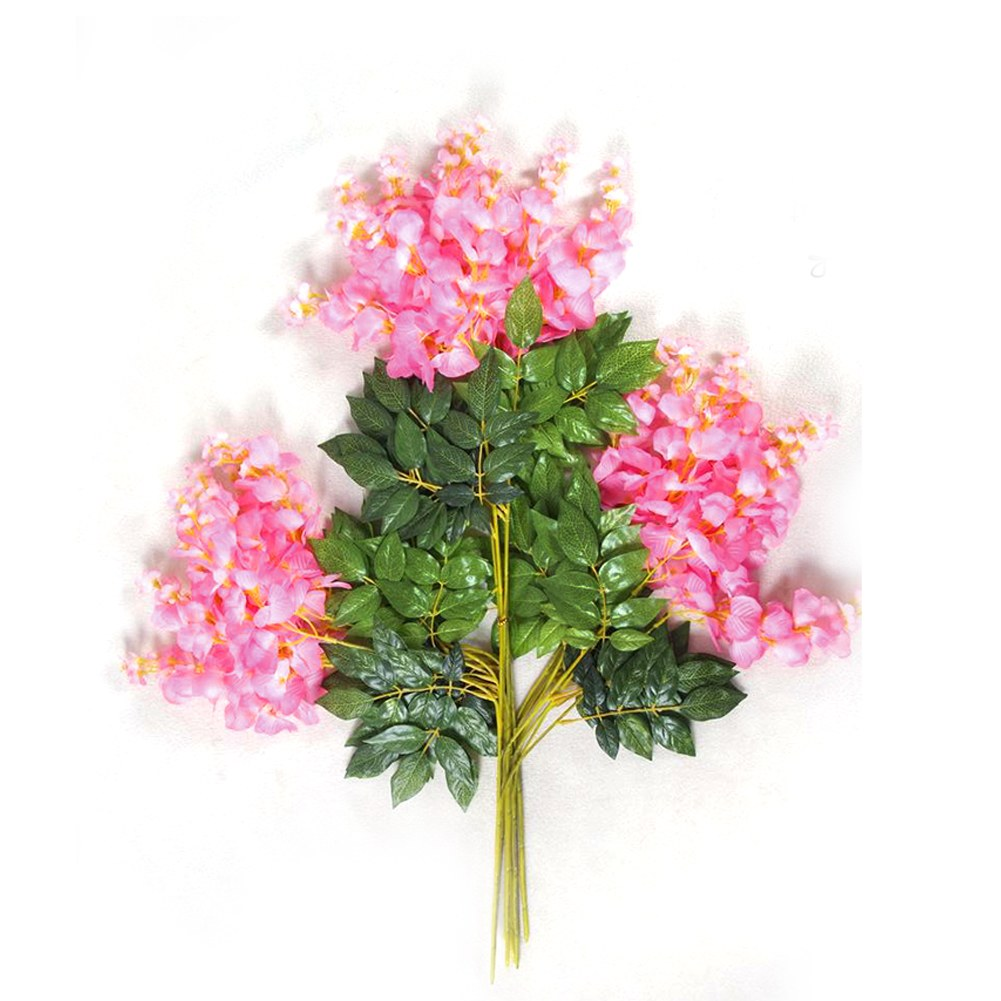 Artificial silk wisteria flower leaves vine garden home for Artificial flower for decoration