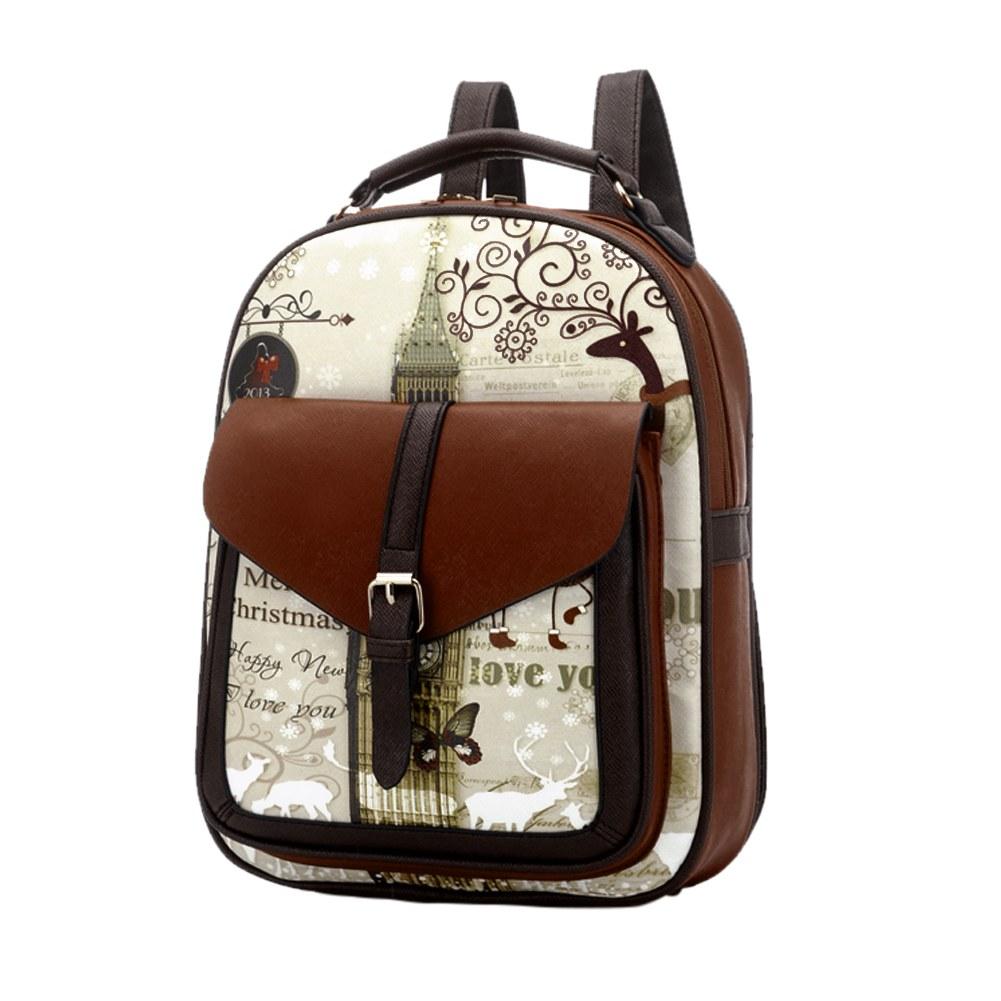 Fashion-Should-Bag-Cute-Graffiti-School-Bag-Preppy-Style-PU-Leather