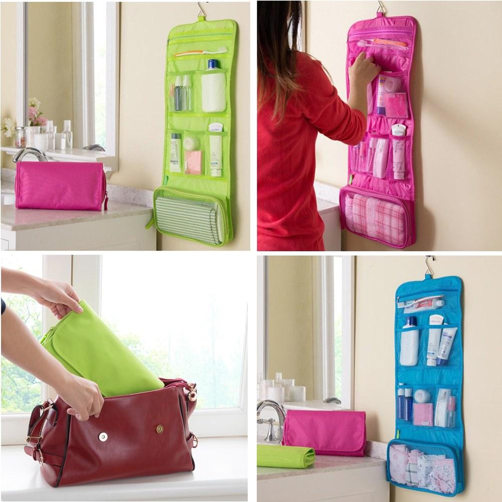 womens ladies mens wash bag travel toilet hanging toiletries makeup bag folding ebay. Black Bedroom Furniture Sets. Home Design Ideas