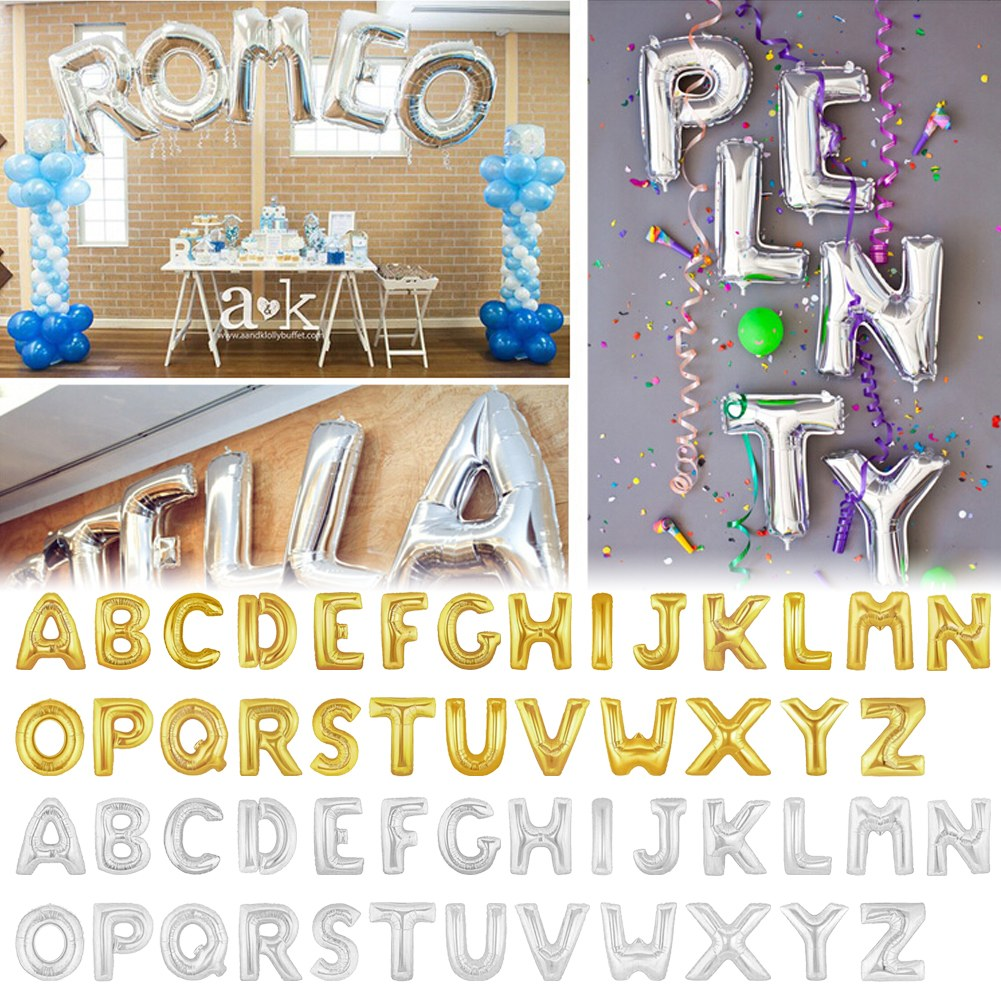 """Gold/Silver Foil 16/40"""" Letter Number Balloons Birthday"""