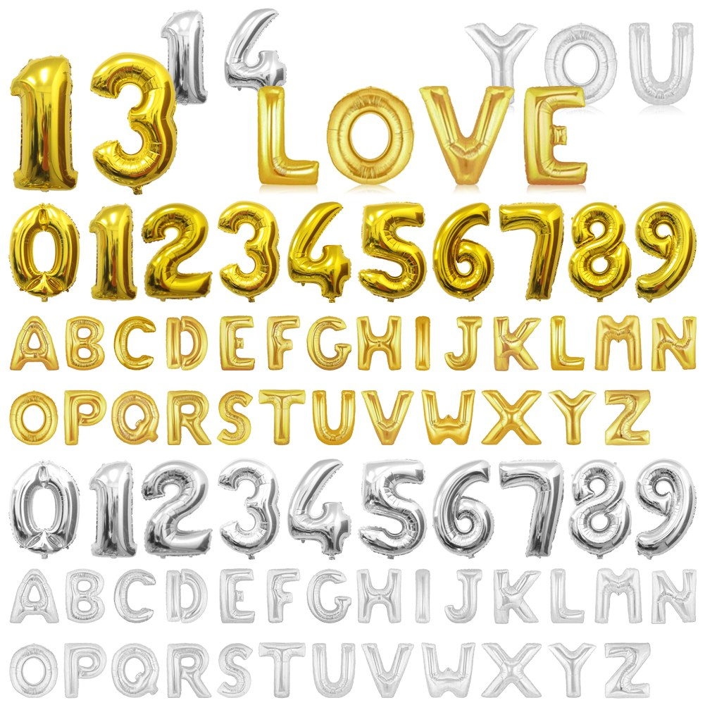 """Silver And Gold Leters: 16/40"""" Helium Foil Balloons Large Alphabet Letter Number"""
