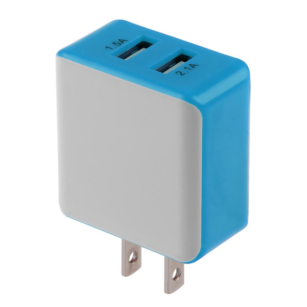 Iphone Wall Charger: 2.1A/1.5 A Dual USB Port Wall Adapter Charger US Plug For