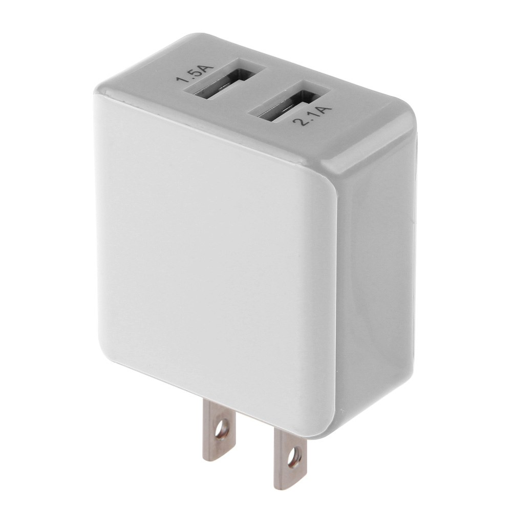 2.1A/1.5 A Dual 2-Port USB Wall Adapter Charger US Plug