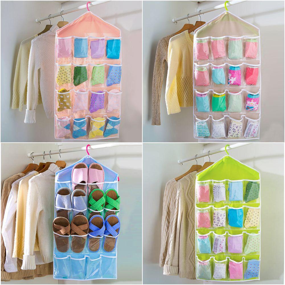 16 pockets clear over door hanging storage bag shoe rack hanger tidy organizer ebay. Black Bedroom Furniture Sets. Home Design Ideas