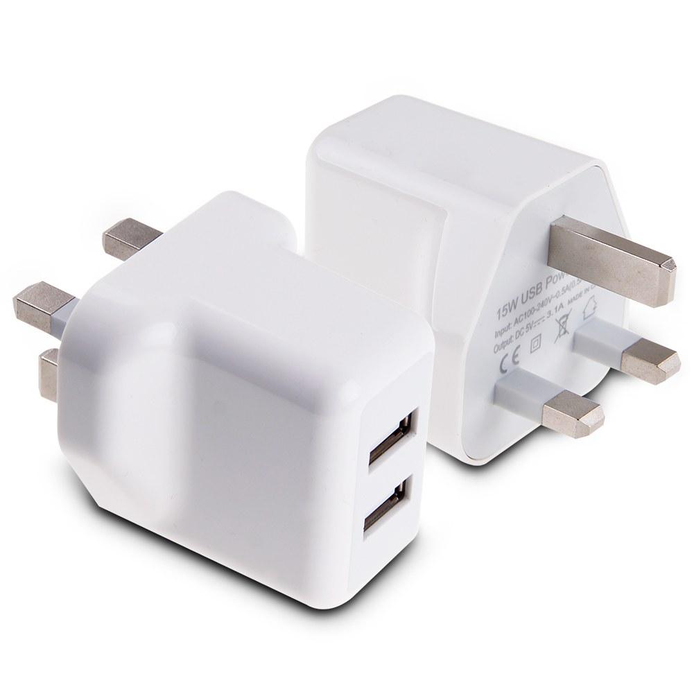 15W 5V 3A AMP FAST Dual Twin 2 Port USB Charger UK Mains Wall Plug Adapter 3 Pin eBay