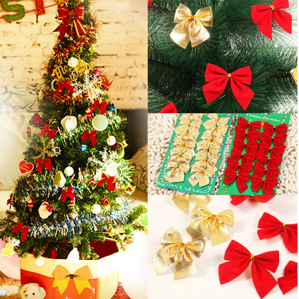 Christmas Tree Bows Decorations: 12x Bow Christmas Tree Decoration Xmas Hanging Ornament