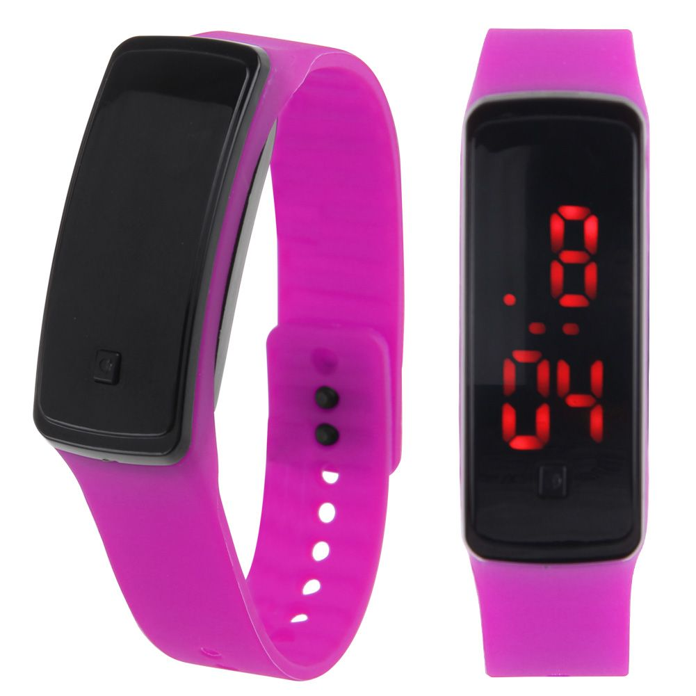 Women Silicone Band Digital Red LED Bracelet Wrist Watch ...