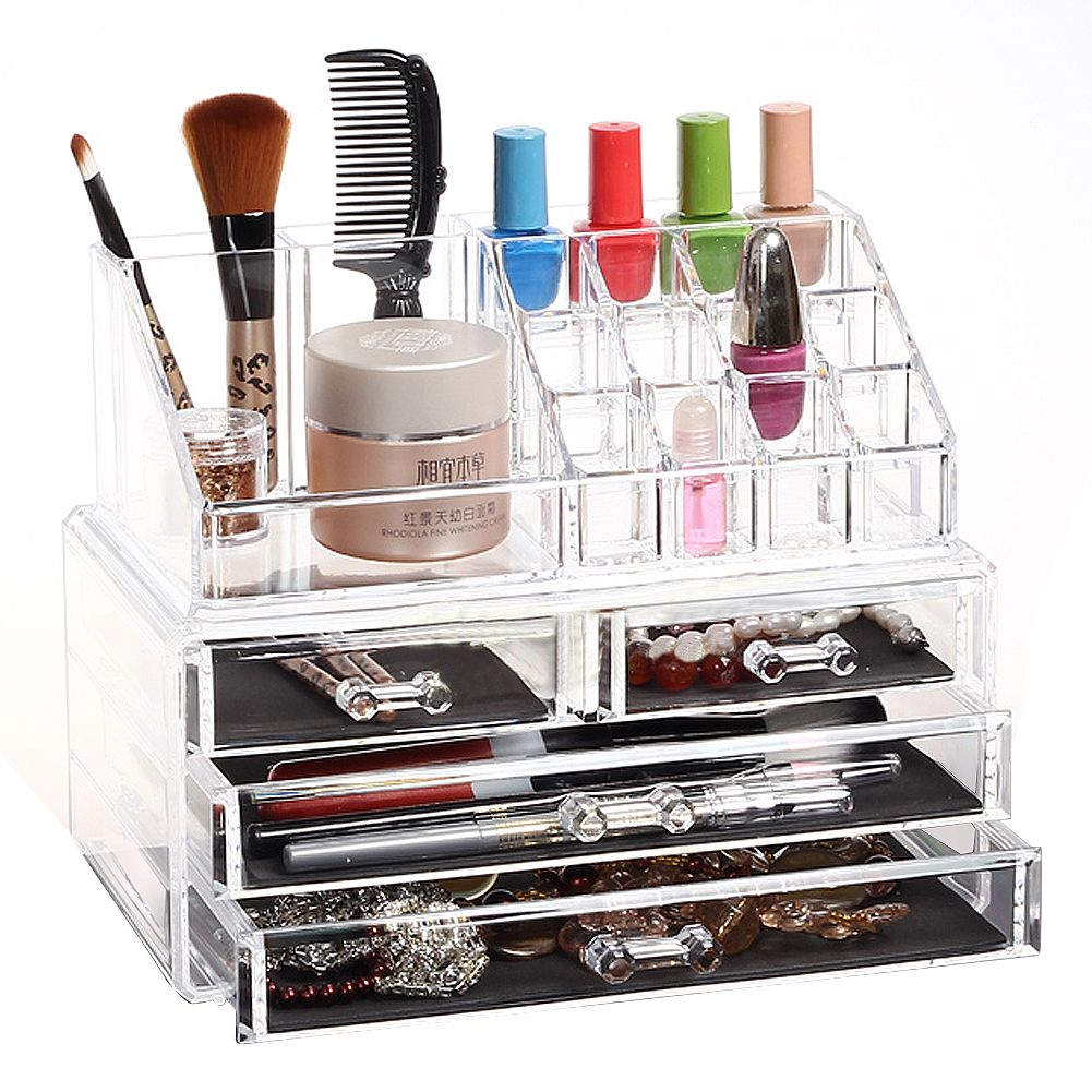 clear acrylic makeup cosmetics jewelry organiser 4 drawers. Black Bedroom Furniture Sets. Home Design Ideas