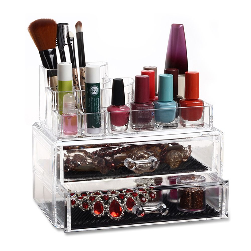 cosmetic organizer clear acrylic makeup drawers holder. Black Bedroom Furniture Sets. Home Design Ideas