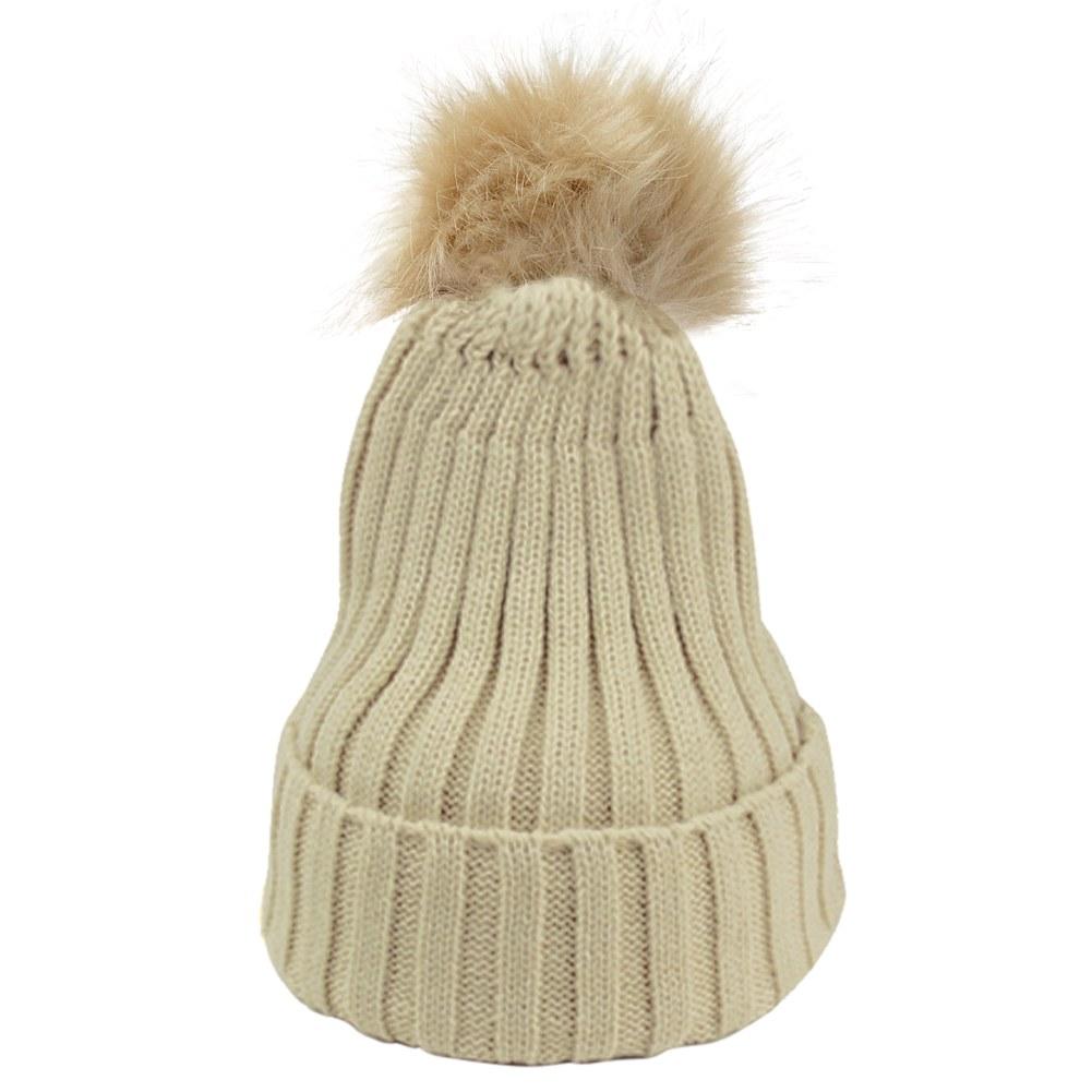 warm winter wool knit beanie raccoon fur pom bobble