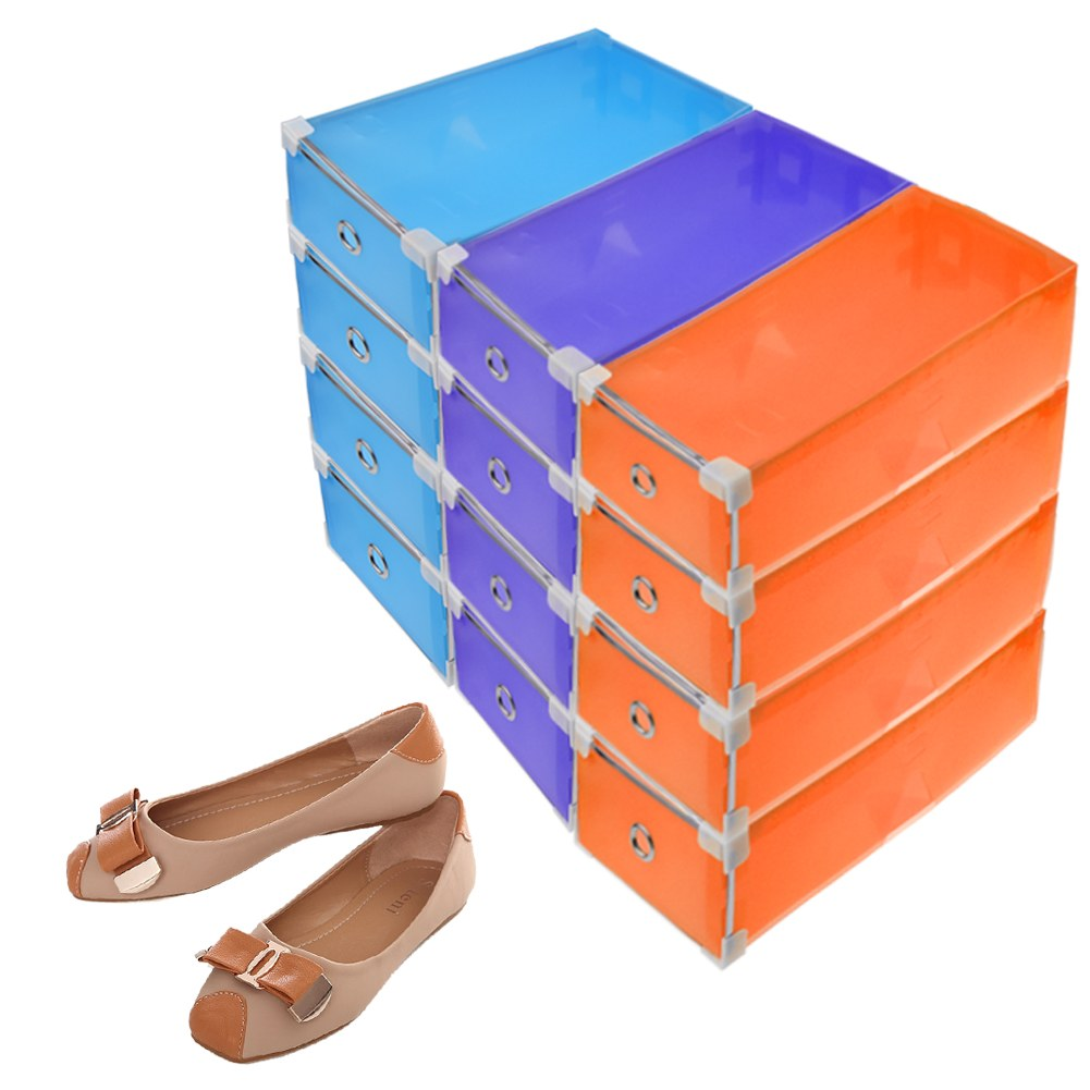 stackable clear plastic shoe box home storage boxes office organiser drawer new. Black Bedroom Furniture Sets. Home Design Ideas