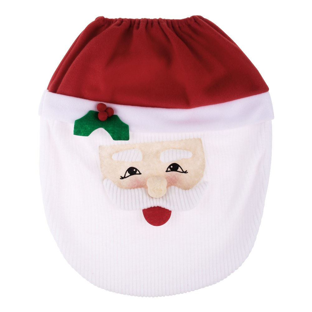 3PCS Fancy Santa Toilet Seat Cover Rug Bathroom Set Christmas Xmas Decorati