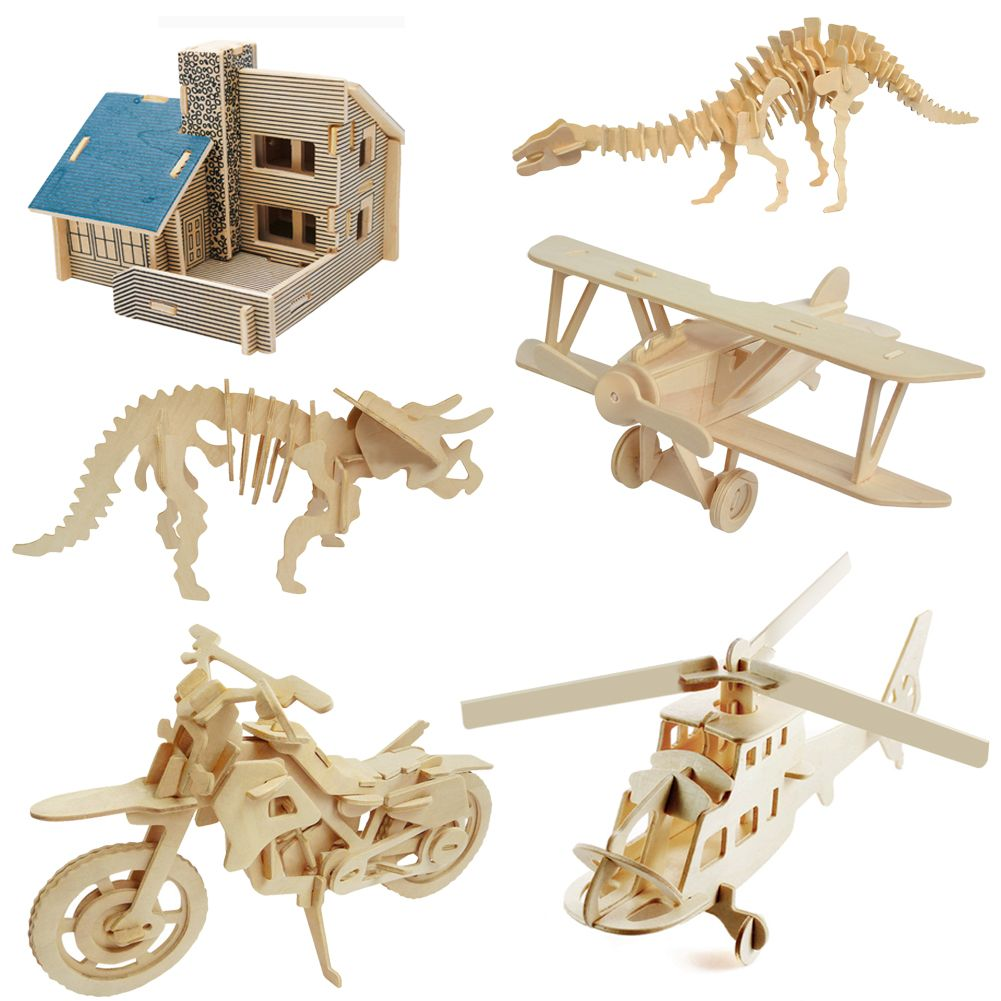 Kids wood craft kits - Diy 3d Jigsaw Wood Craft Kits Realistic Animal Wooden Model Puzzle Toy Gift Kids