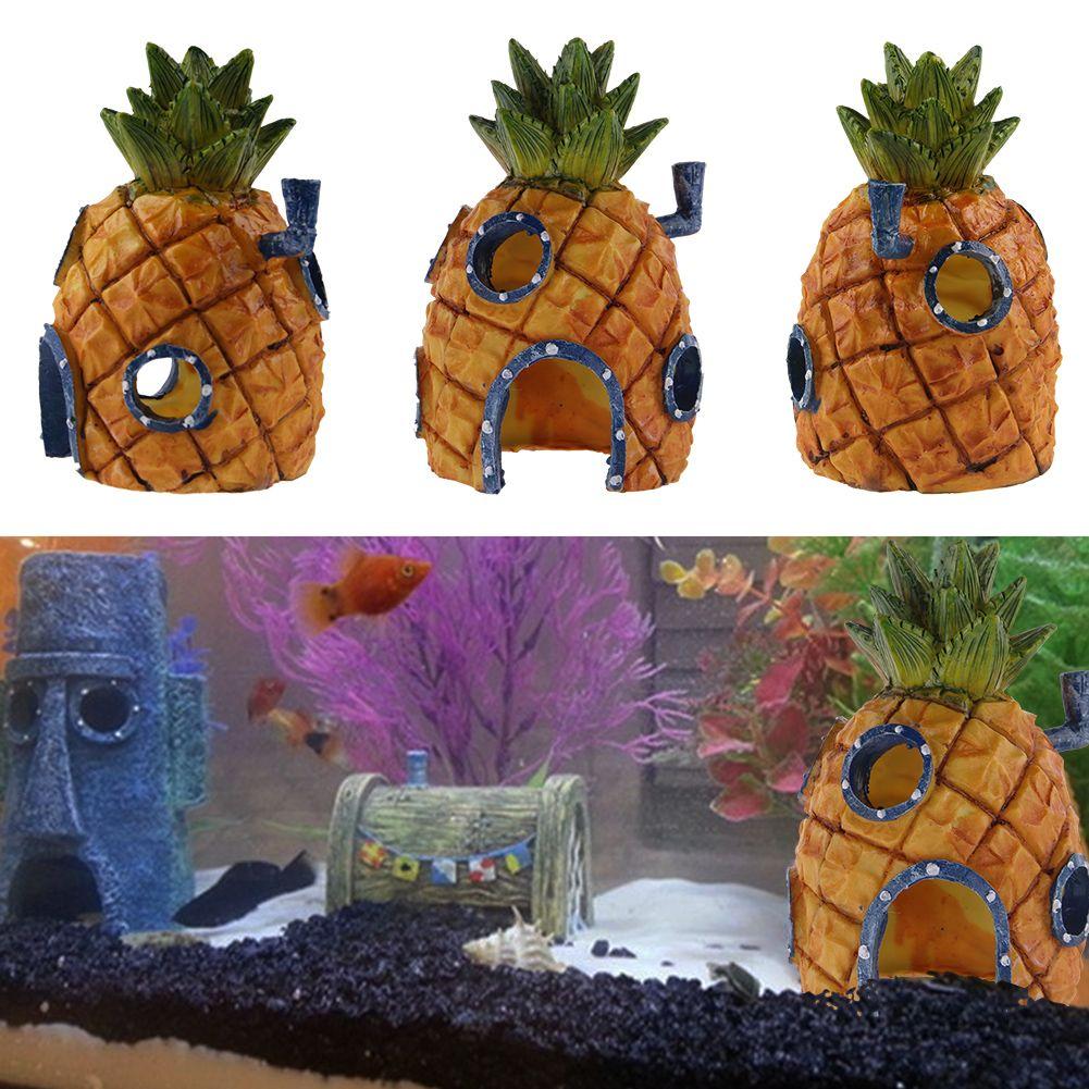 Cartoon spongebob squarepants pineapple house aquarium for Spongebob fish tank accessories