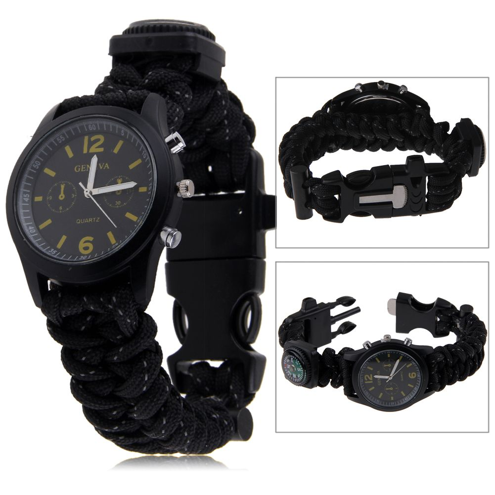 survival paracord bracelet compass fire starter prepper