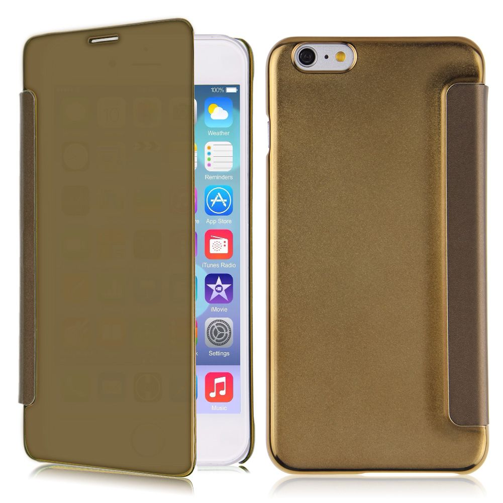 Luxury mirror leather pc flip cover case skin for iphone for Mirror iphone to pc