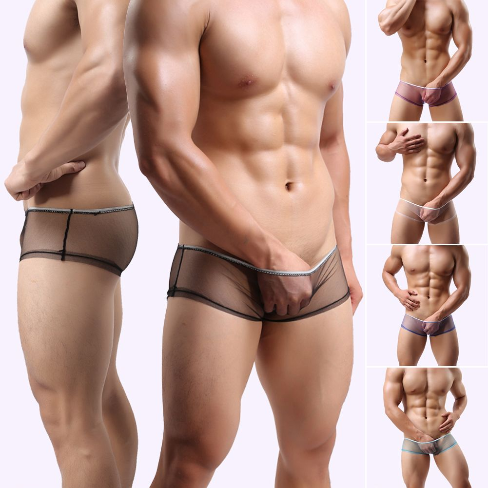 Men Transparent Sexy See Through Mesh Boxers Shorts Briefs Underpants Underwear Ebay