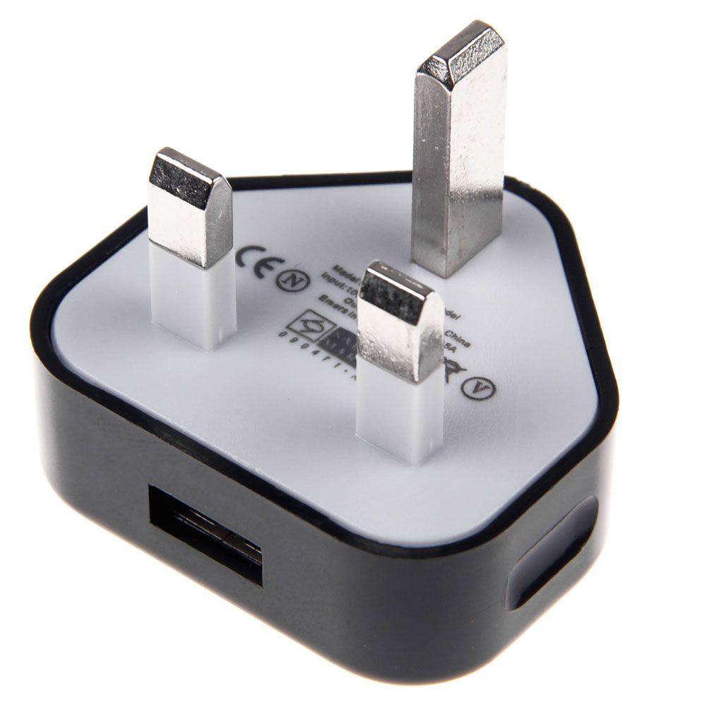 UK Mains Wall 3 Pin USB Plug Power Adaptor Charger For