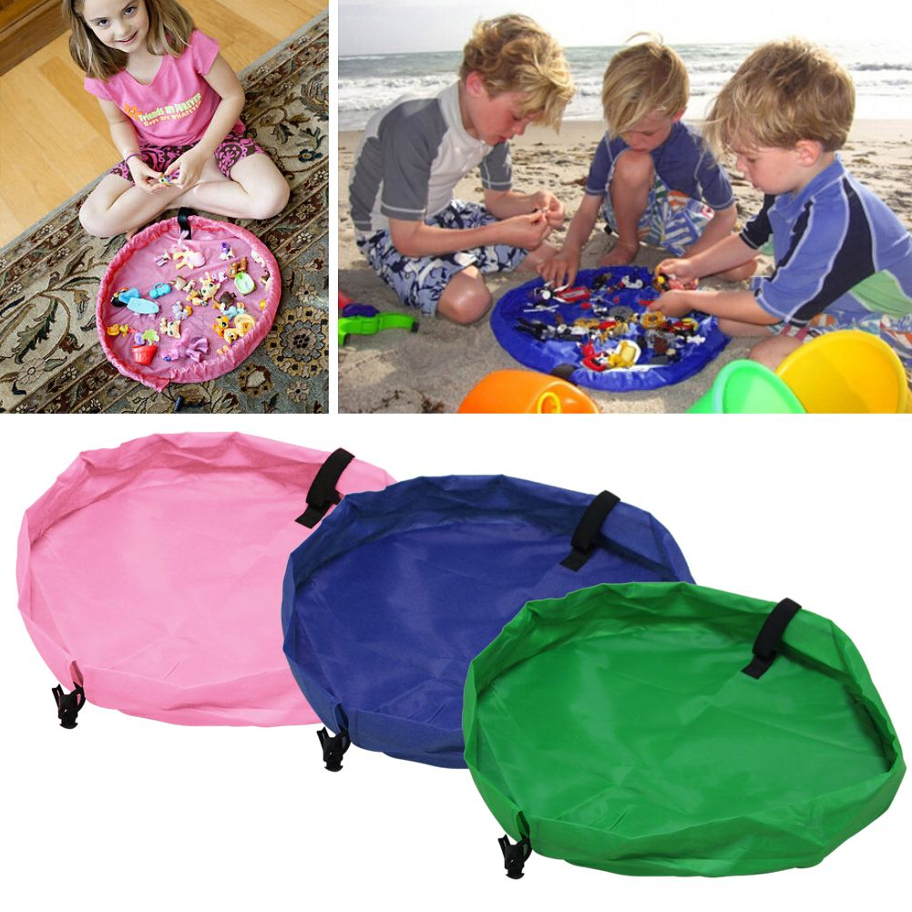 Portable Kids Toy Storage Bag Home Outdoor Play Mat Rug