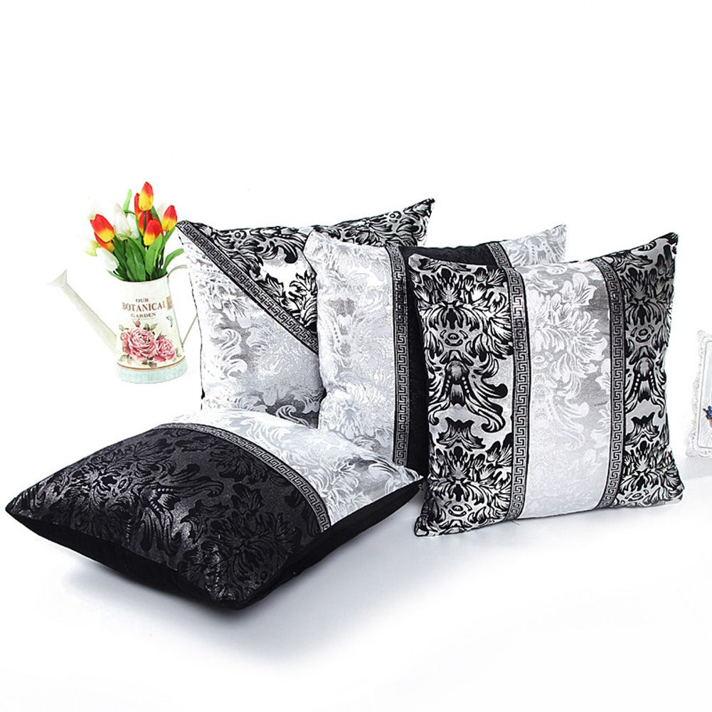 Black Decorative Pillow Cases : Retro Thick Black White Splice Sequins Throw Pillow Case Cushion Cover Decor eBay