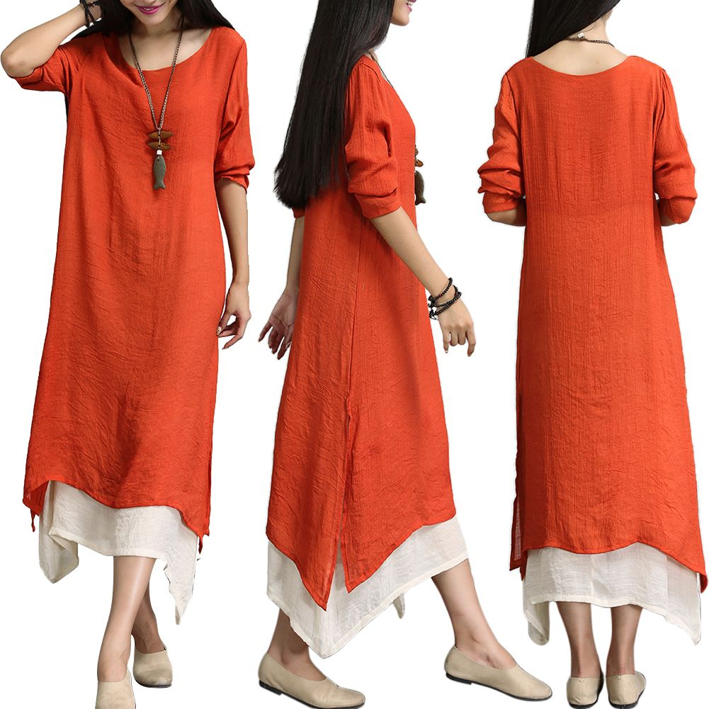 Plus Size Women Summer Linen Cotton Loose Long