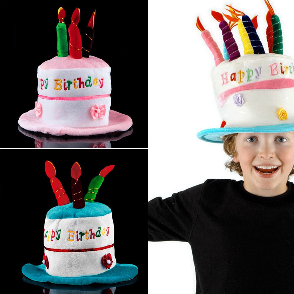 Adult / Child Size Happy Birthday Cake Candle Funny Hat Plush Cap Party Cosplay