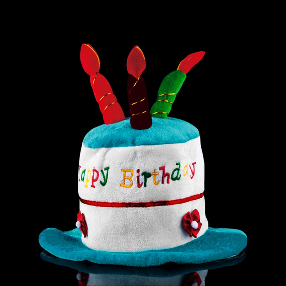 Plush Soft Fancy Dress Happy Birthday Cake Hat With Candles Cap Adult /Kids Size