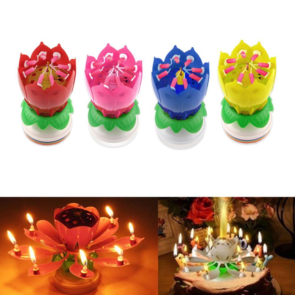 Flower birthday cake with candles izmirmasajfo