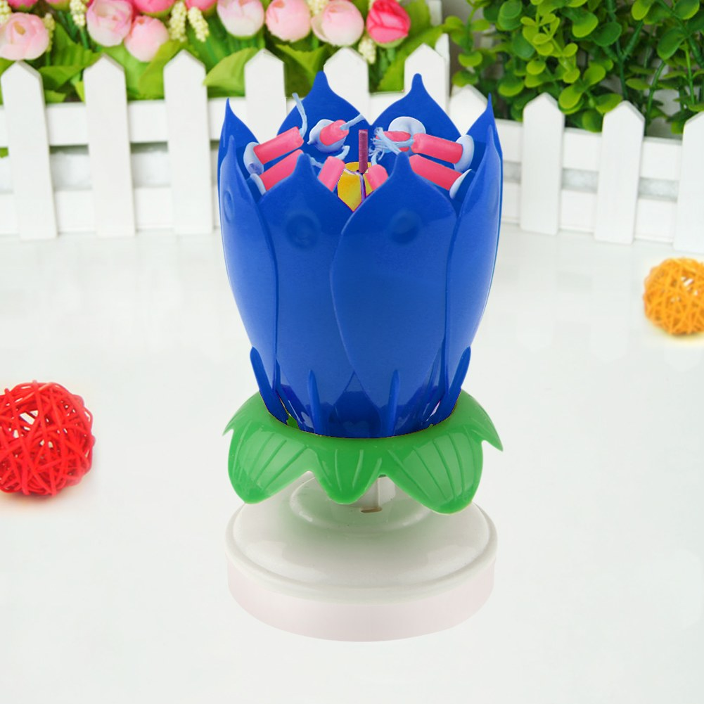 Al Rotating Lotus Flower Cake Topper Party Birthday Jpg 1001x1001 Blooming Candle