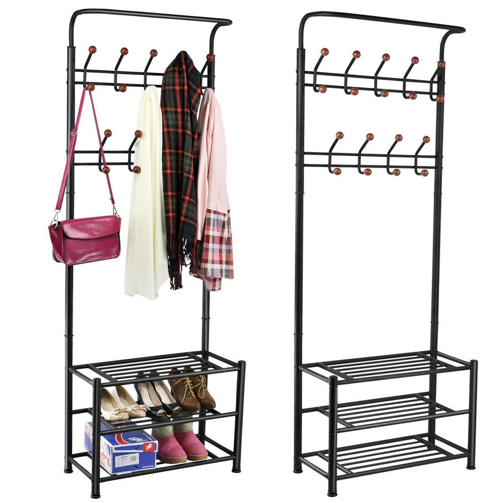 metal steel pipe hat coat stand shoe clothes rack stands hanger hooks shelves ebay. Black Bedroom Furniture Sets. Home Design Ideas