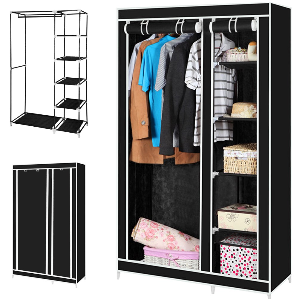 Canvas Storage Boxes For Wardrobes: TRIPLE MULTIPLE CANVAS WARDROBE WITH HANGING RAIL HOME