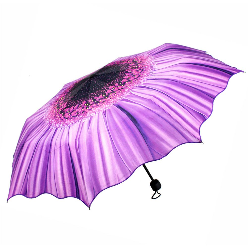 womens portable sunflower folding rain umbrella anti uv. Black Bedroom Furniture Sets. Home Design Ideas