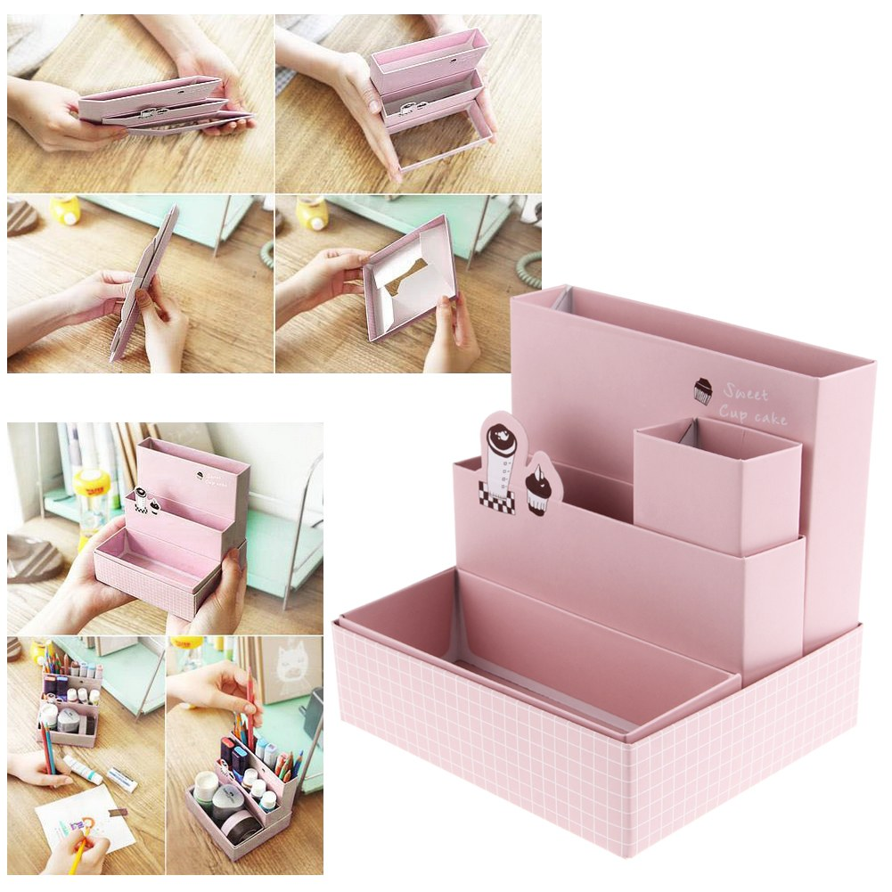 Diy paper board storage box desk decor stationery cosmetic - Desk makeup organizer ...