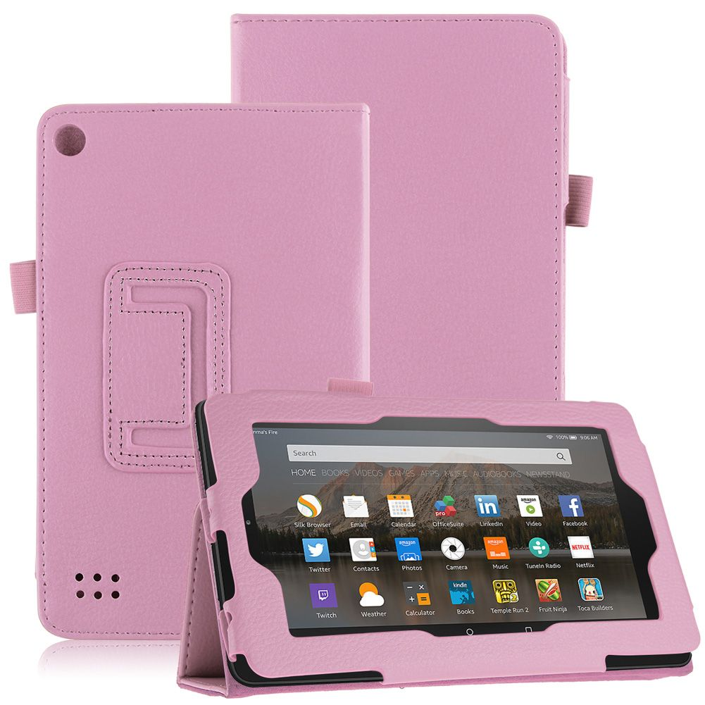 magnetic folio leather stand cover case for new amazon kindle fire 7 2015 tablet ebay. Black Bedroom Furniture Sets. Home Design Ideas