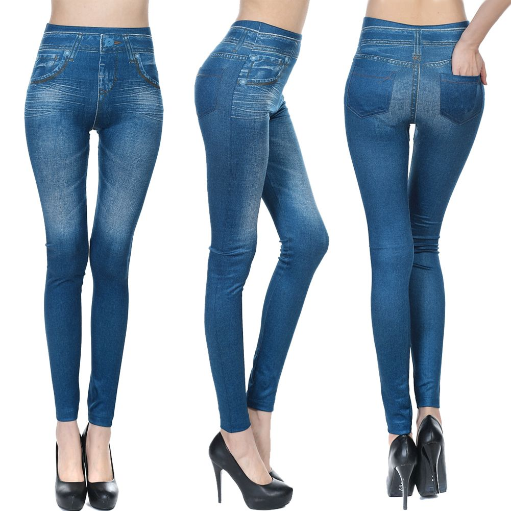 New Womens Leggings Jeggings Womens Fashion Denim Look Fit Size 8 18 Ebay