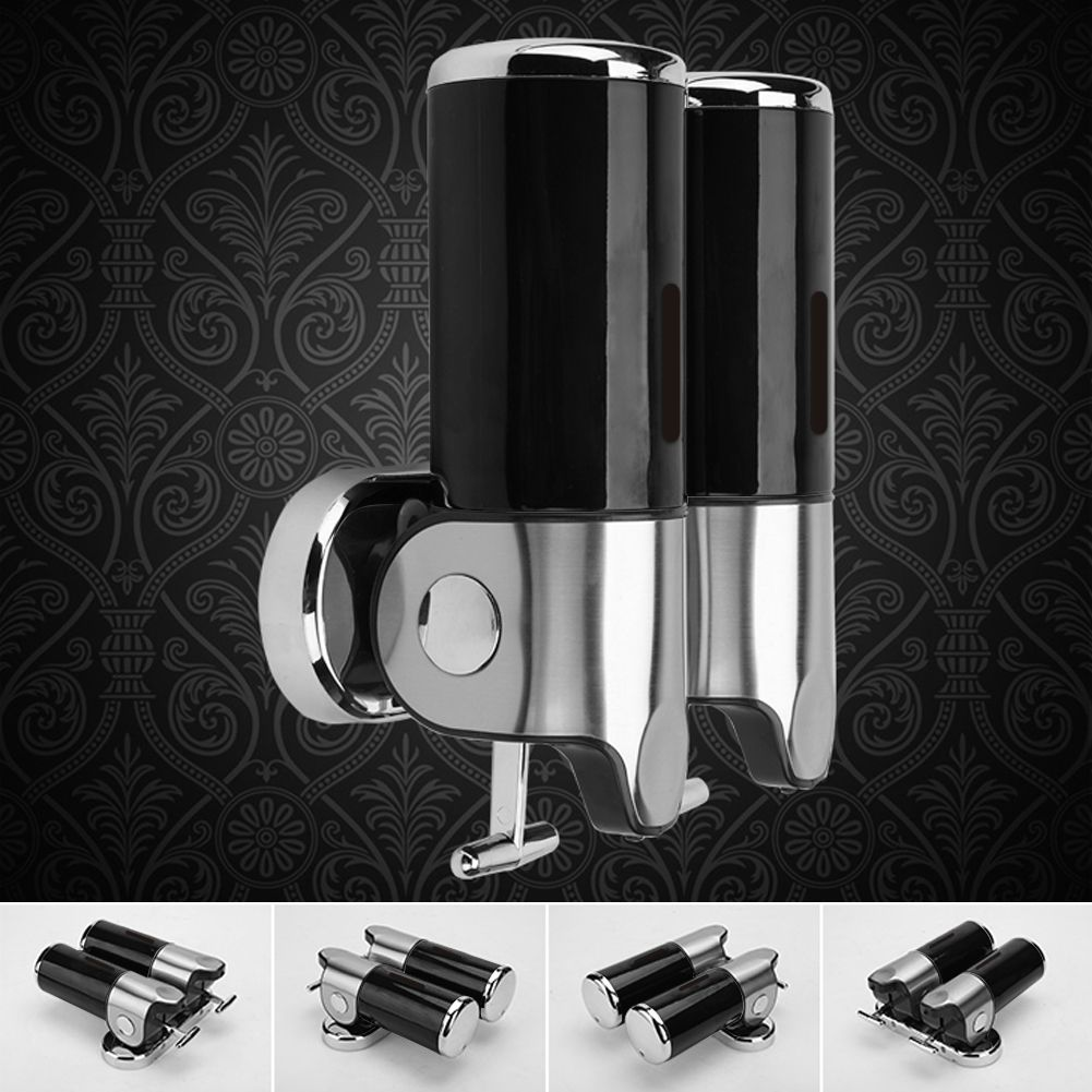 seifenspender shampoo spender seife soap dispenser 2x 500ml wandmontage neu ebay. Black Bedroom Furniture Sets. Home Design Ideas