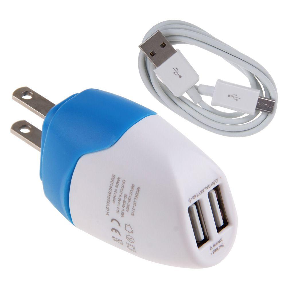 Universal EU US Dual AC Charger Power Adapter + Micro USB