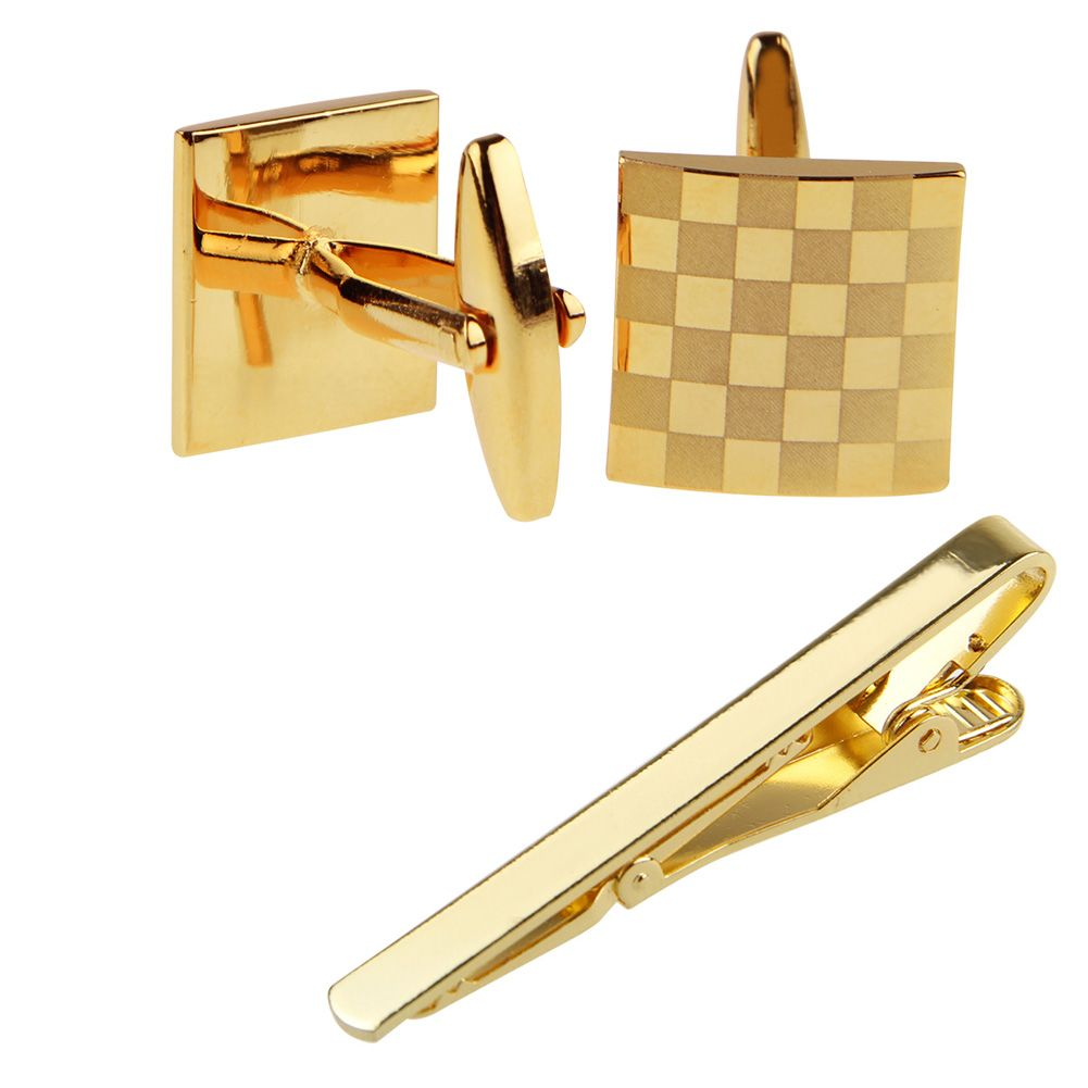 Set mens stainless steel necktie tie clip bar clasp clamp