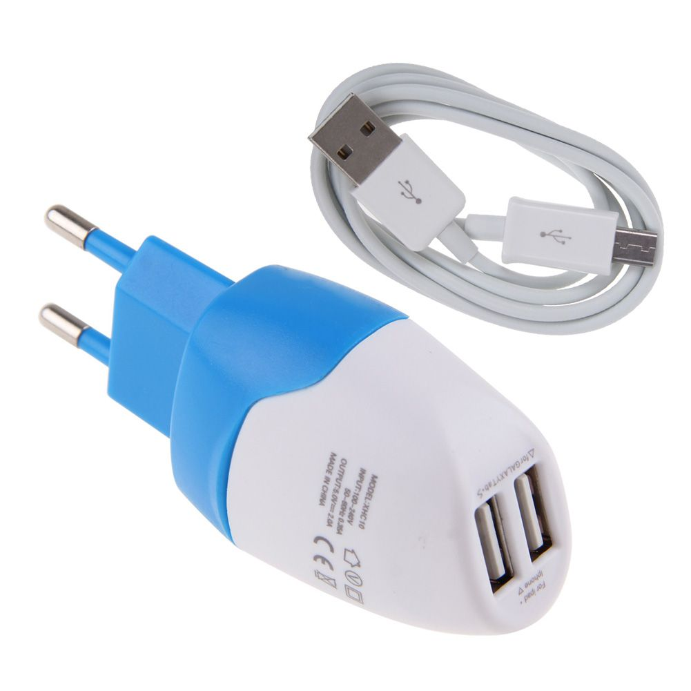 2A Dual US EU USB Wall AC Adapter +Micro USB Charger Cable
