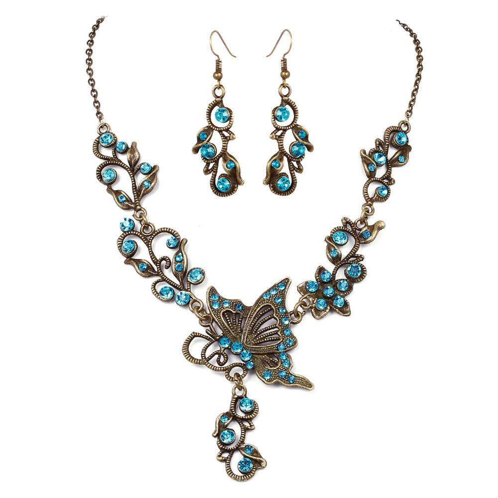 Fashion Retro Jewelry Sets Butterfly Flower Rhinestone Pendant Necklace Earrings Ebay