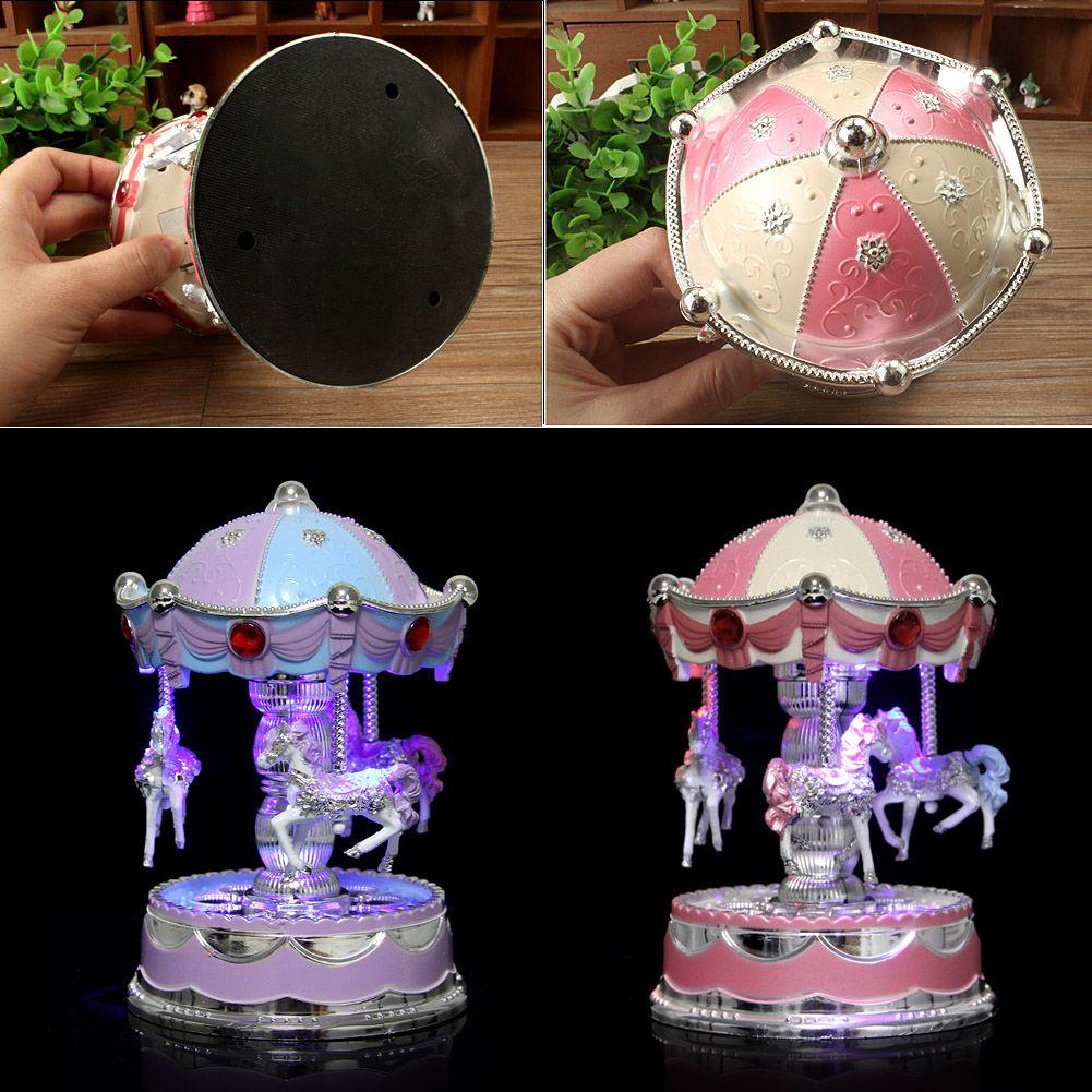 Led Horse Carousel Music Box Light Clockwork Musical