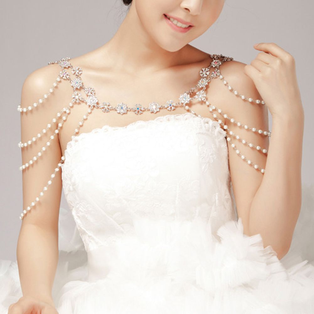 Wedding Bridal Crystal Rhinestone Pearl Shoulder Body ...